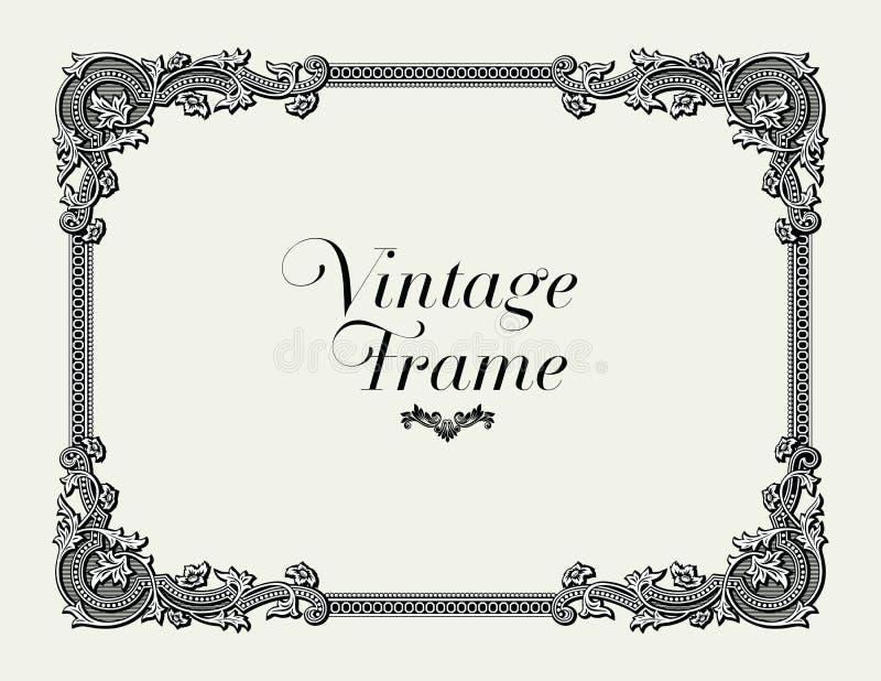 Beira do ornamento do vintage Vetor floral decorativo do quadro ilustração do vetor