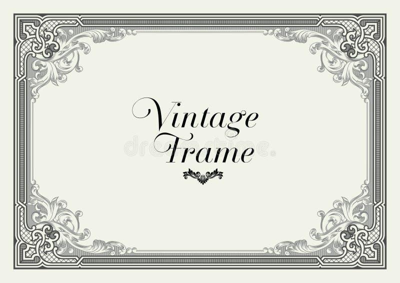 Beira do ornamento do vintage Vetor floral decorativo do quadro ilustração royalty free
