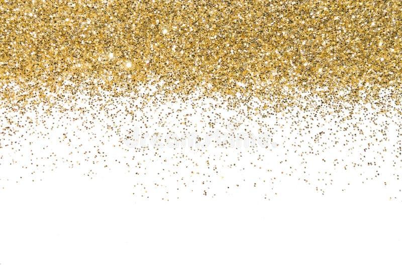 Beira do ouro Lantejoulas Brilho dourado pó glitter Fundo de brilho imagens de stock royalty free