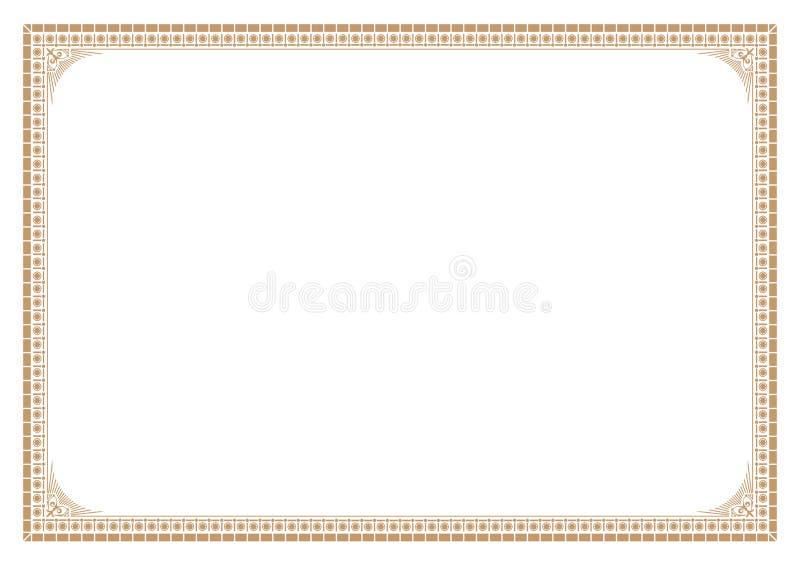 Beira do ouro para o estilo do victorian do certificado com linha ilustração stock