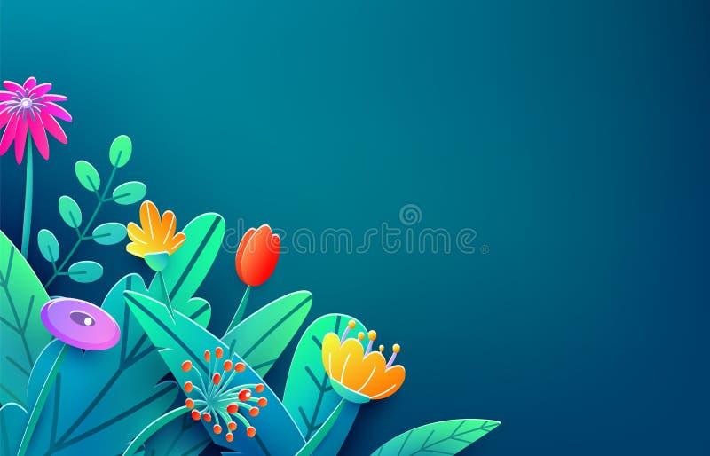 Beira do verão com as flores cortadas de papel da fantasia, folhas, isoladas na obscuridade Fundo floral da mola do estilo 3d mín ilustração do vetor