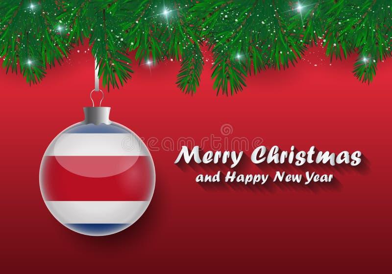 Beira do vetor de ramos e de bola de árvore do Natal com a costela ric ilustração stock