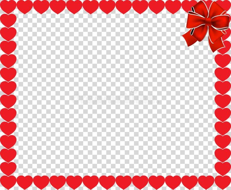 Beira do vetor do dia do ` s do Valentim com corações e fita ilustração stock