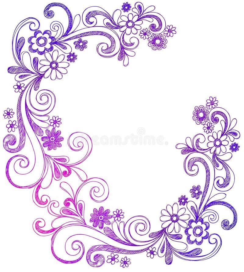 Beira do vetor do Doodle das flores e dos redemoinhos ilustração stock