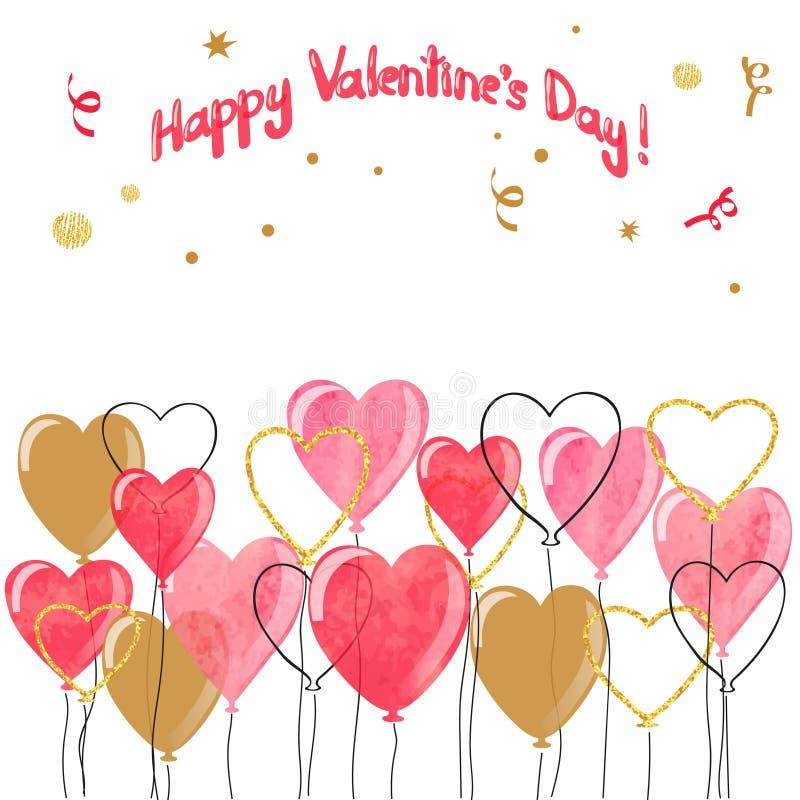 Beira dos balões dos corações da aquarela do Valentim ilustração stock