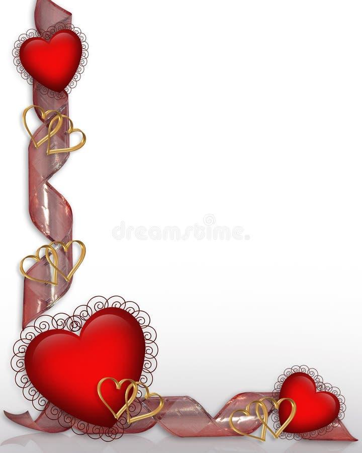 Beira dos corações e das fitas do Valentim ilustração stock