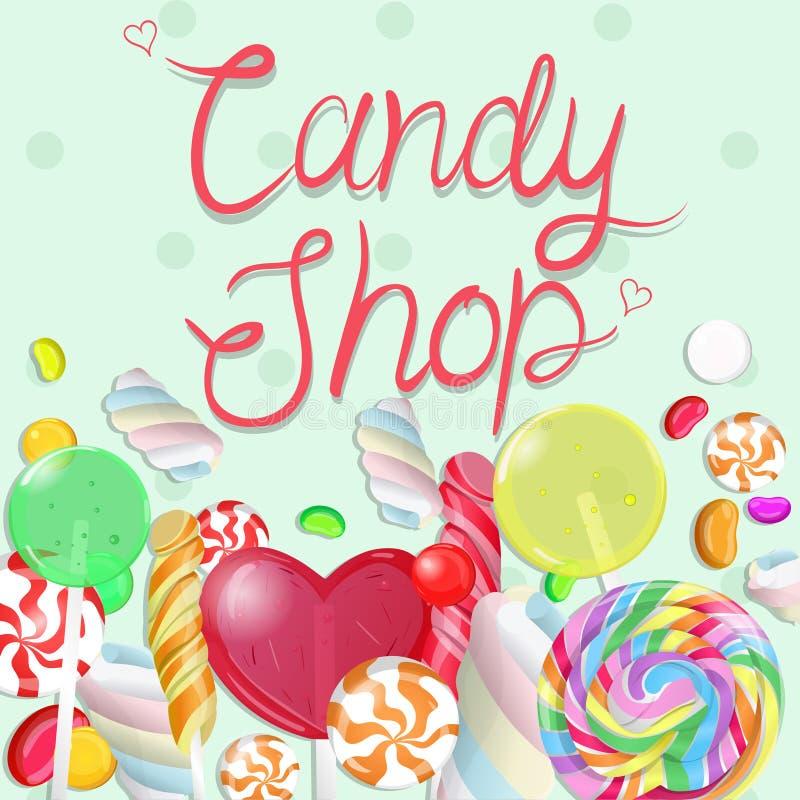 Beira dos doces Loja dos doces da inscrição Ilustra??o de Vectrical ilustração stock