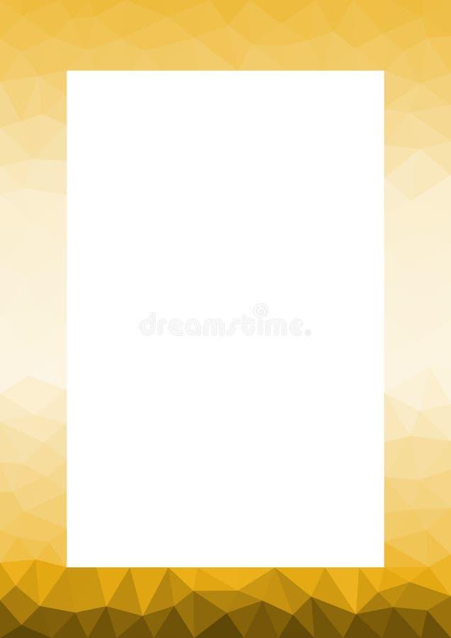 Beira dourada do quadro de Lowpoly do deserto da areia ilustração do vetor