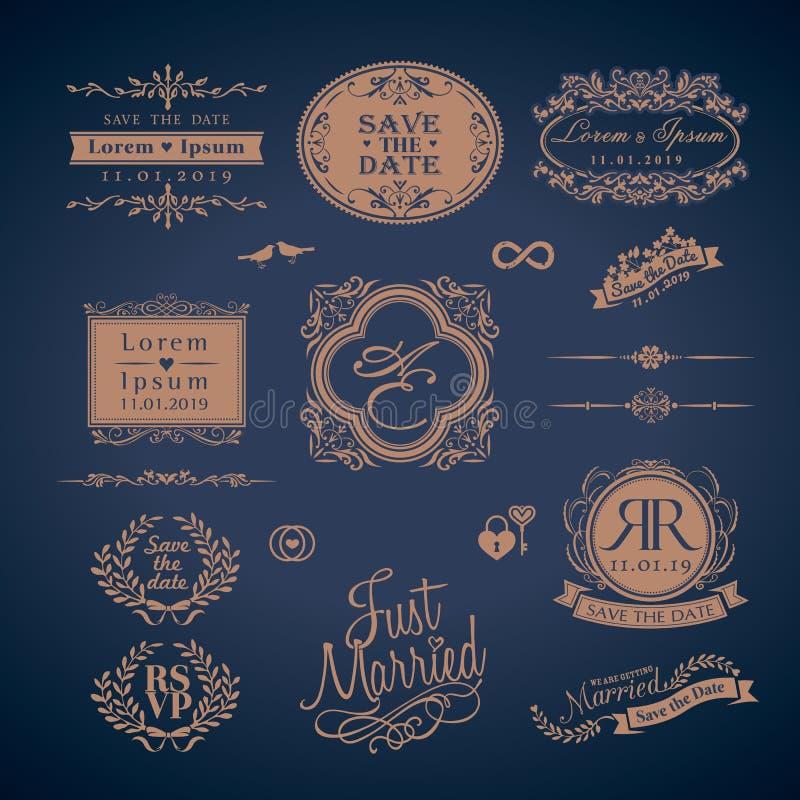 Beira e quadros do monograma do casamento do estilo do vintage ilustração royalty free