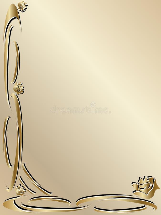 Beira elegante do ouro do convite do casamento ilustração do vetor