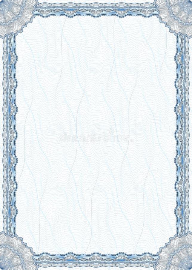 Beira em branco do guilloche para o diploma ou o certificado ilustração royalty free