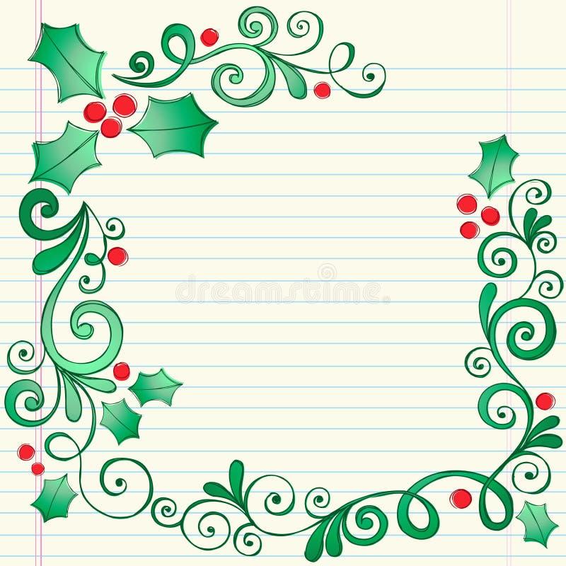 Beira esboçado Hand-Drawn do azevinho do Natal do Doodle ilustração royalty free