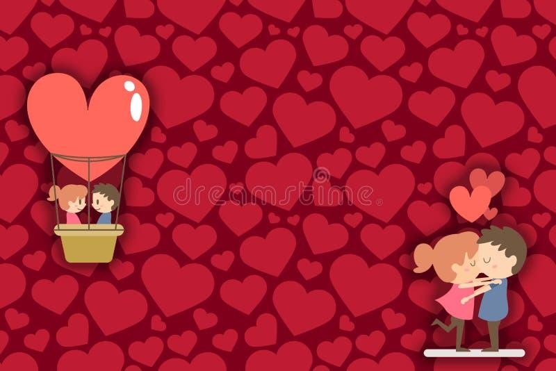 Beira feliz do dia de Valentim Pares tirados românticos que beijam e que fazem o voo com baloon do ar do coração Corações no fund ilustração do vetor