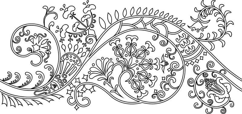Beira Filigree da flor. estêncil ilustração stock
