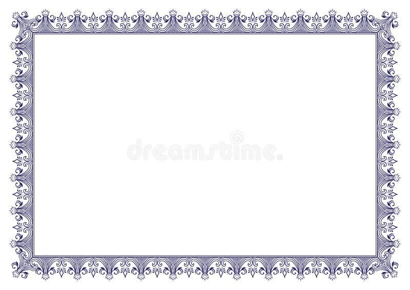 Beira floral azul para certificados com coroa ilustração stock