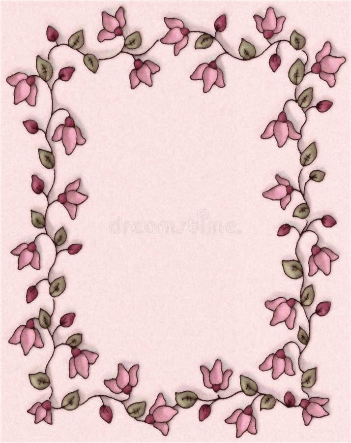 Beira floral cor-de-rosa do frame da foto ilustração stock