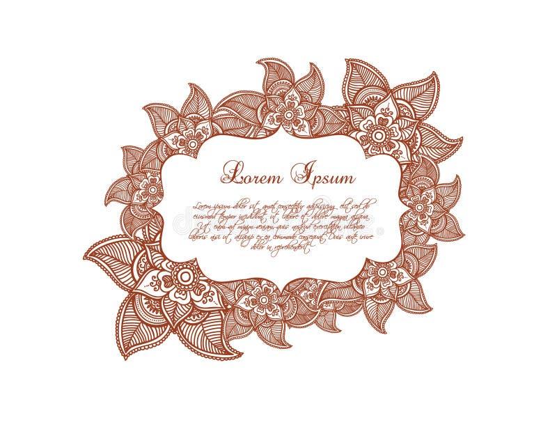 Beira floral cor-de-rosa Flores - ornamento étnico, Índia Etiqueta decorativa do vetor ilustração do vetor