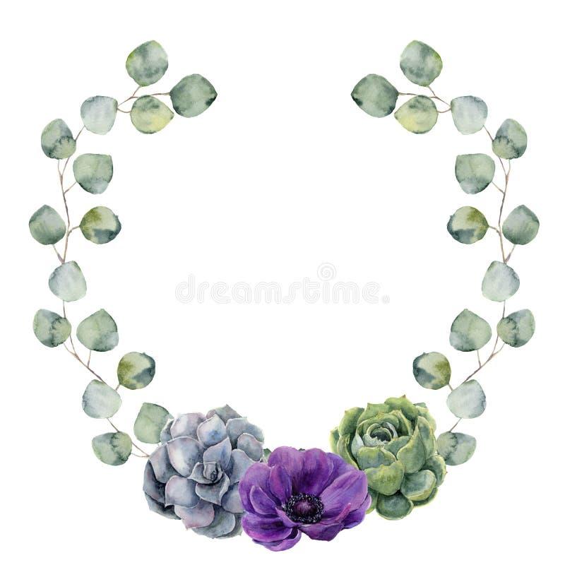 A beira floral da aquarela com o eucalipto do dólar de prata flor sae, da planta carnuda e da anêmona Grinalda pintado à mão com ilustração royalty free