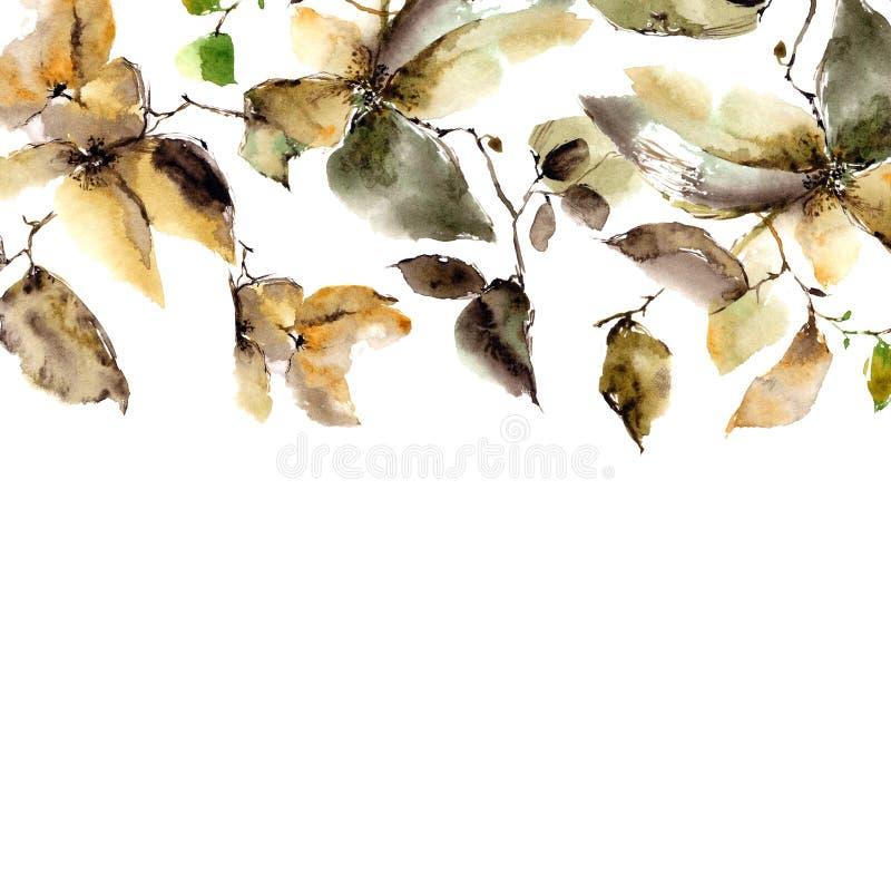 Beira floral da aquarela Flores do outono Fundo floral Autumn Floral Design Flores cor-de-rosa murchos Cartão floral ilustração royalty free
