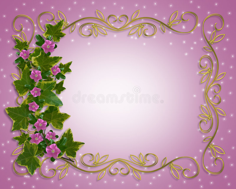 Beira floral do projeto da hera com frame do ouro ilustração do vetor