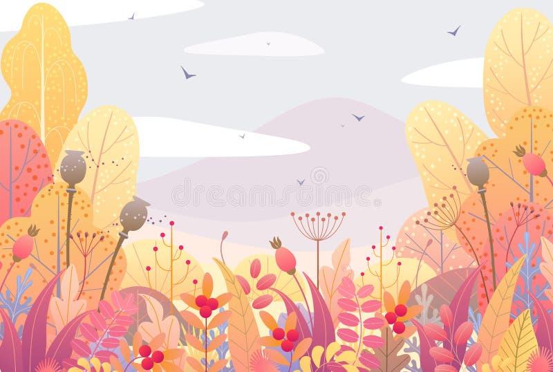 Beira floral e Autumn Landscape ilustração royalty free