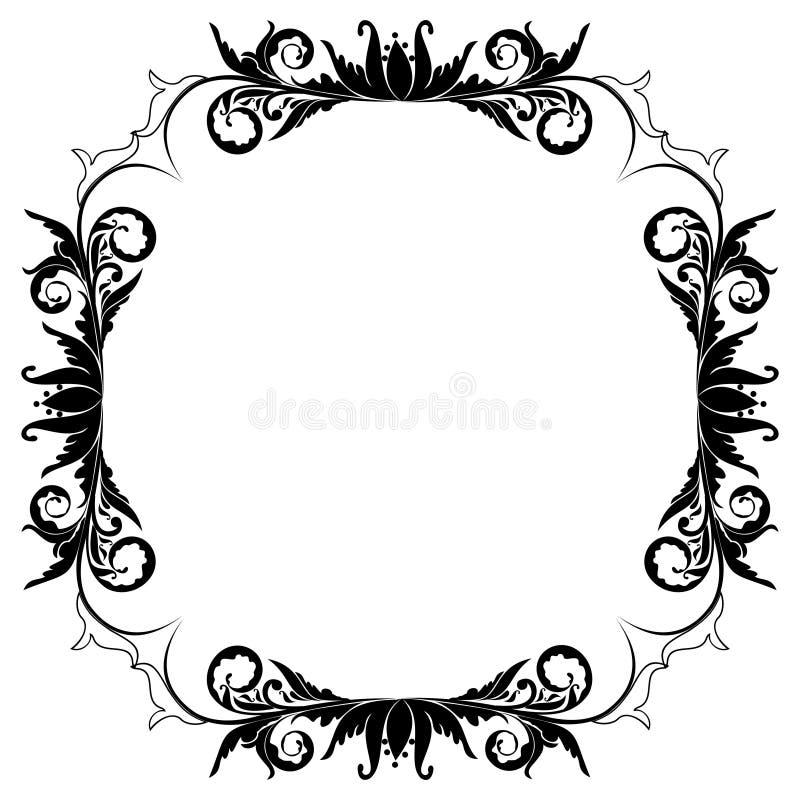 Beira floral em branco do frame ilustração stock