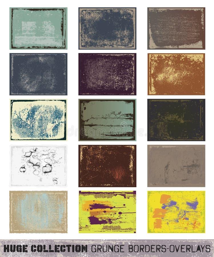 Beira-folhas de prova enormes do grunge da coleção ilustração stock