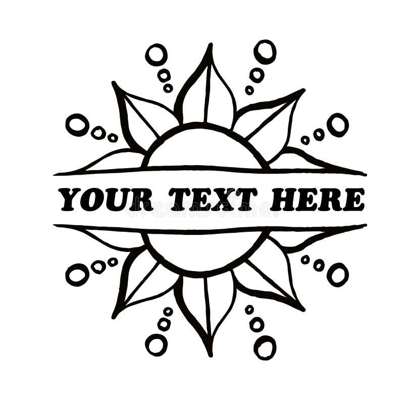 Beira frente e verso da flor do vetor decorativo seu texto aqui imagens de stock