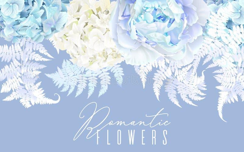 Beira horizontal azul floral ilustração royalty free