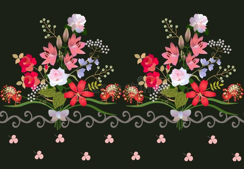 Beira horizontal fantástica com os ramalhetes luxuosos de flores do jardim, de pavões pequenos feericamente, do ornamento acenado ilustração royalty free