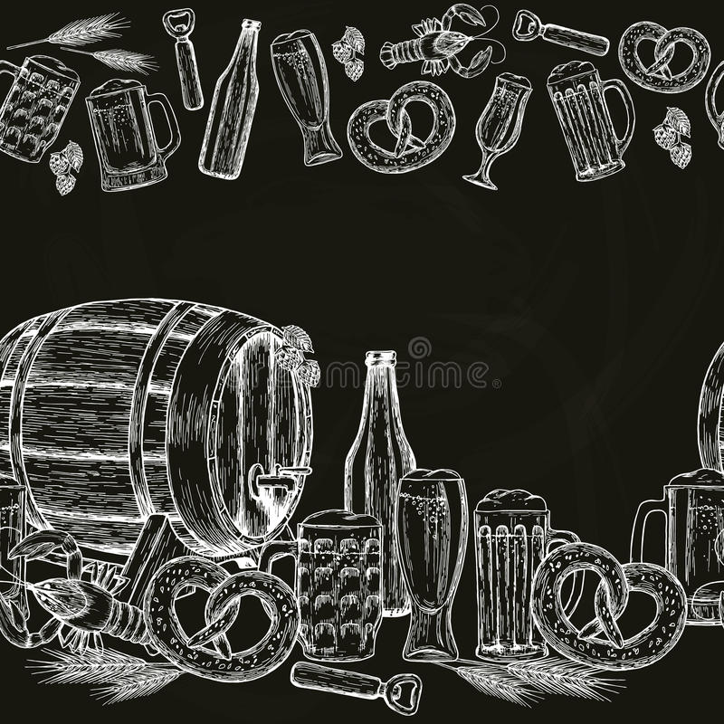 Beira horizontal sem emenda da cerveja ilustração royalty free