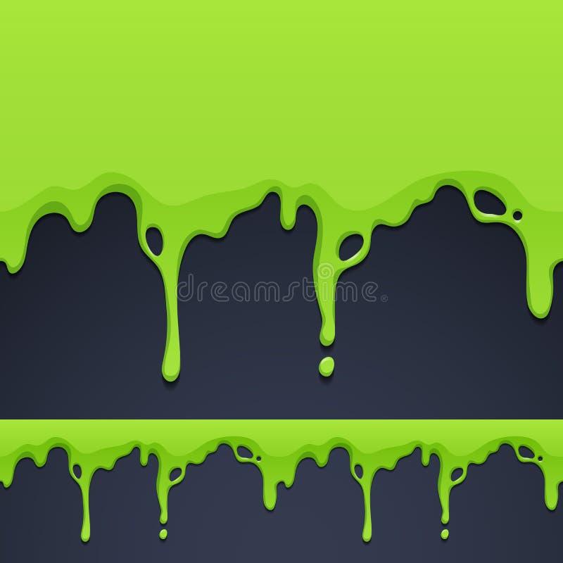 Beira horizontal sem emenda de gotejamento da textura verde ilustração do vetor