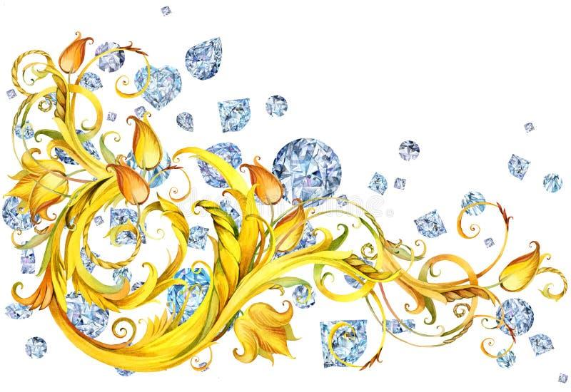 A beira luxuosa com cristais do diamante e o ouro ondulam Fundo da bandeira da joia ilustração do vetor