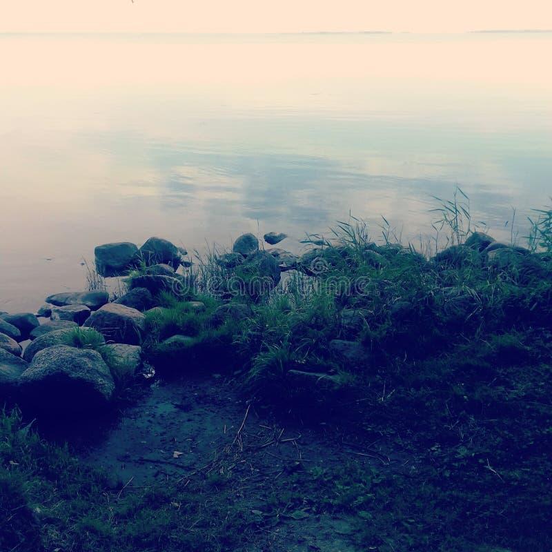 Beira-mar calmo com pedras e grama escuras fotos de stock