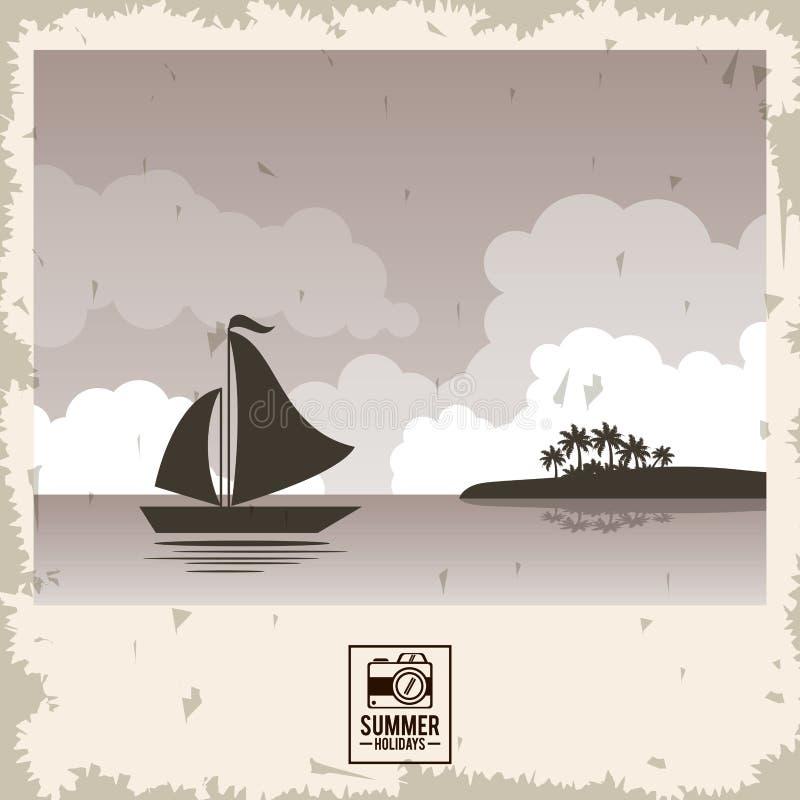 Beira-mar do cartaz da cor do Sepia com iate e tipografia dos holydays do verão ilustração stock