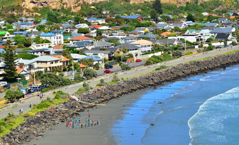 Beira-mar litoral Christchurch - Nova Zelândia de Sumner fotografia de stock royalty free