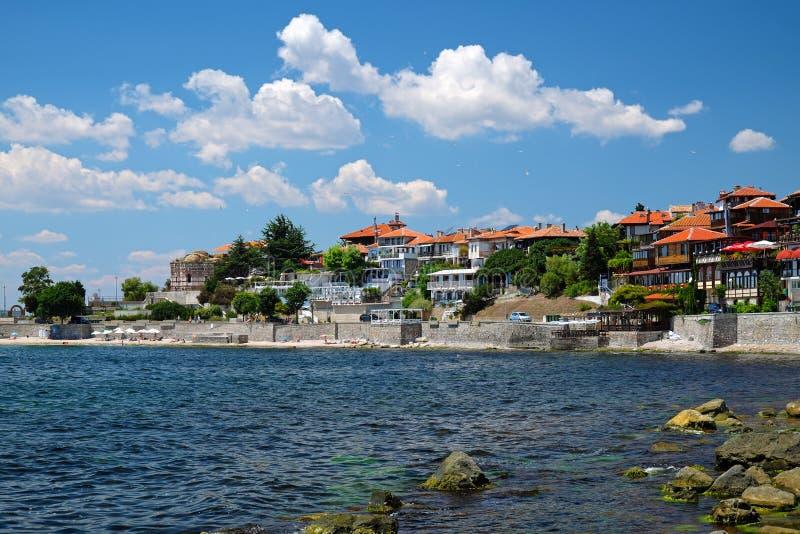 Beira-mar na cidade antiga de Nessebar fotos de stock