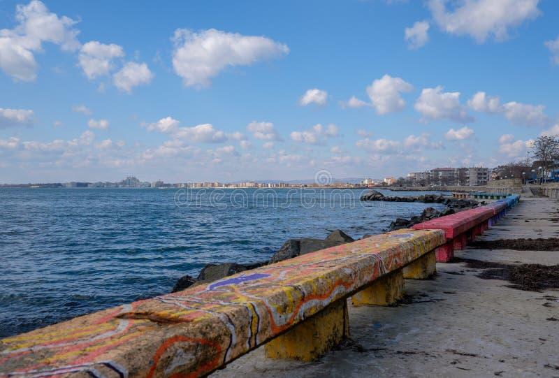Beira-mar nebuloso foto de stock royalty free