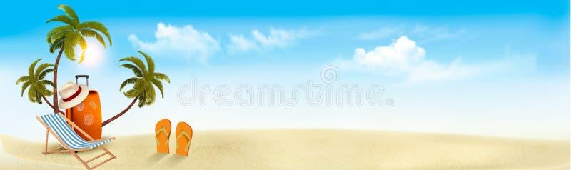 Beira-mar tropical com palmas, uma cadeira de praia e uma mala de viagem ilustração stock