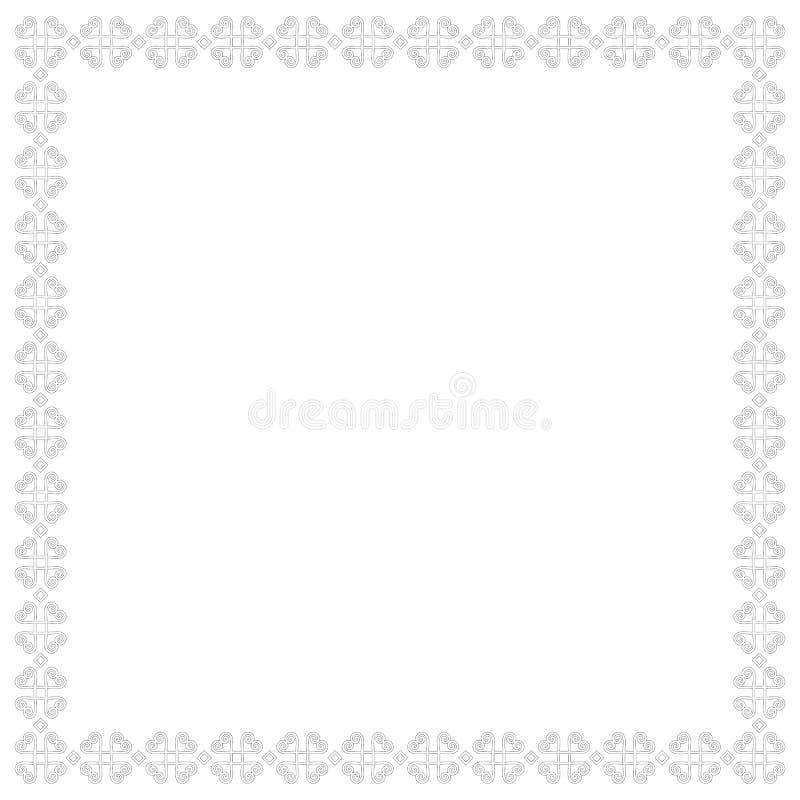 Beira ou quadro quadrado decorativo no branco com os esboços pretos isolados no fundo branco ilustração stock
