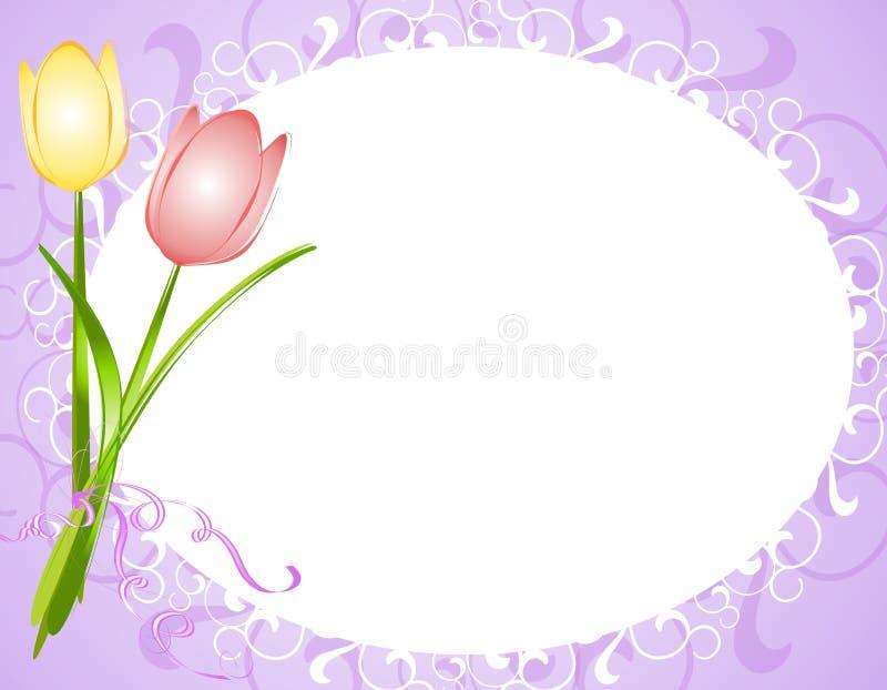 Beira oval roxa do frame da flor dos Tulips ilustração stock