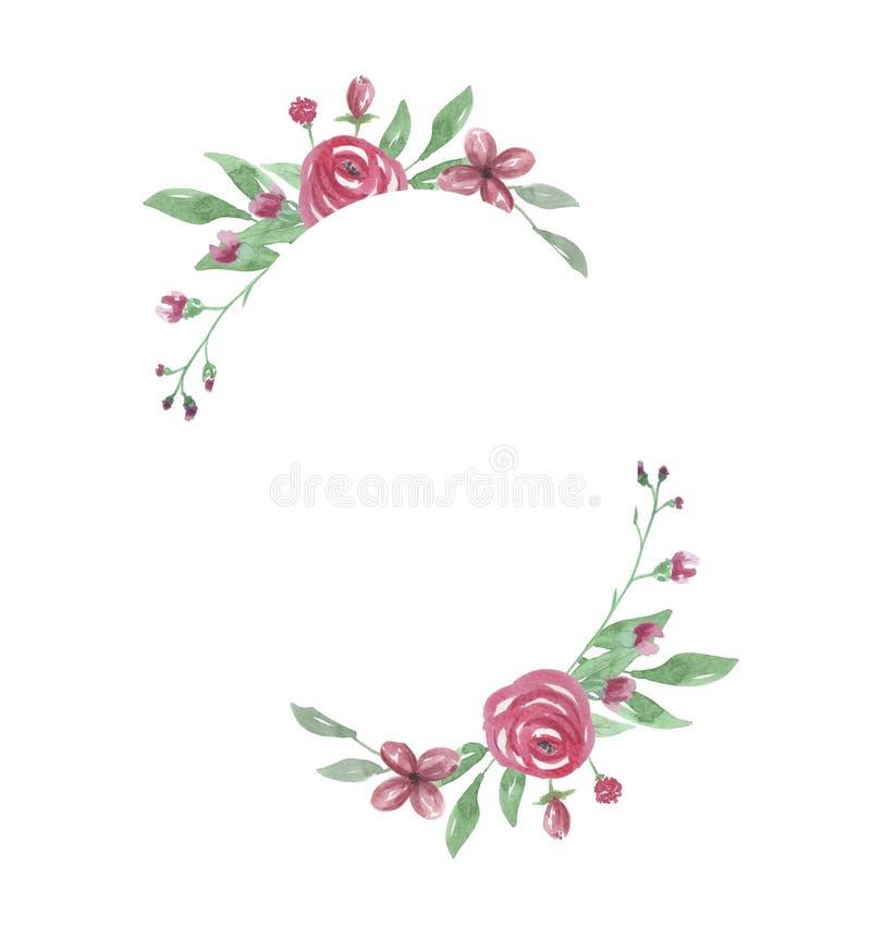 Beira pintada Rose Frame Wedding Flower Hand vermelha oval do Watercolour ilustração royalty free