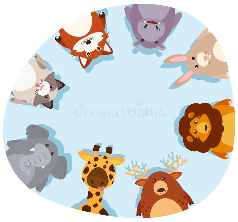 Beira redonda com animais bonitos ilustração do vetor