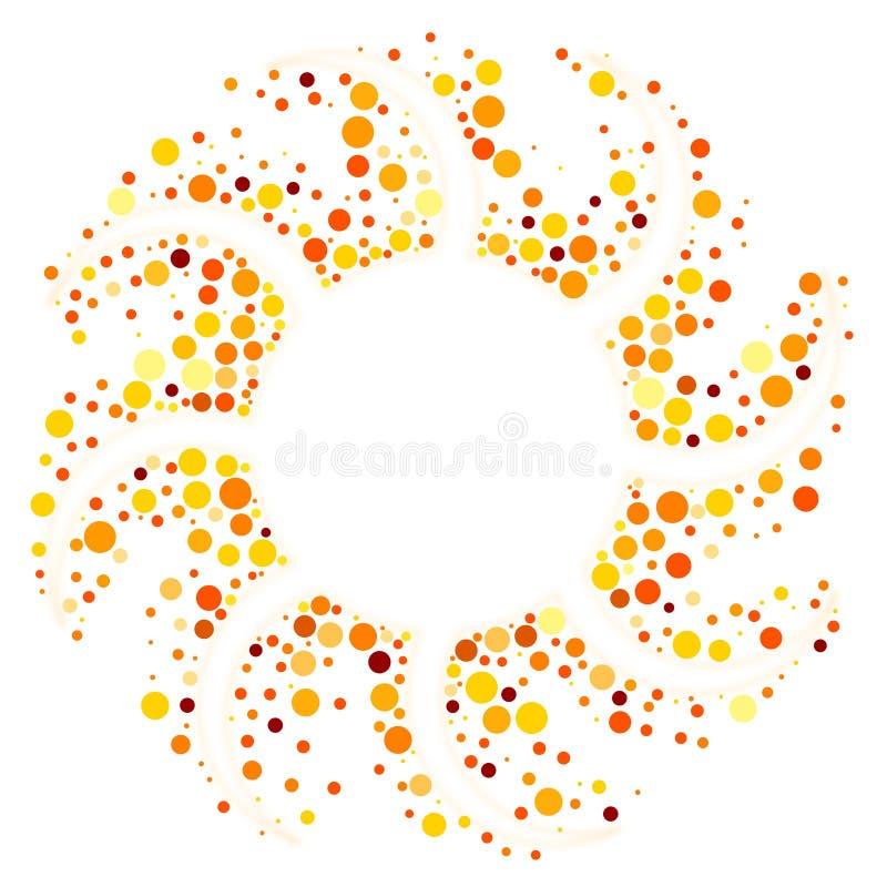 Beira redonda do quadro do sol circular ilustração do vetor