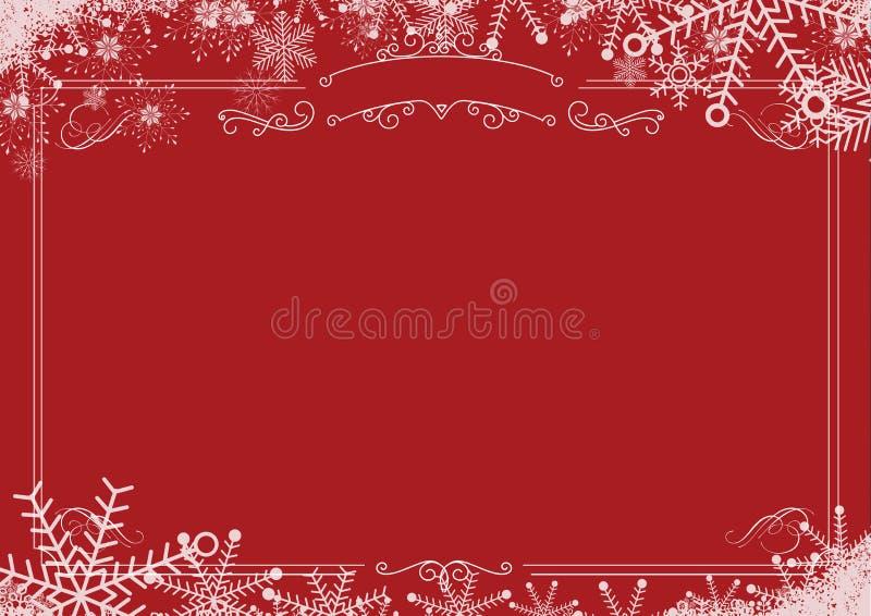 Beira retro do floco de neve do inverno do Natal e backgro textured vermelho ilustração stock