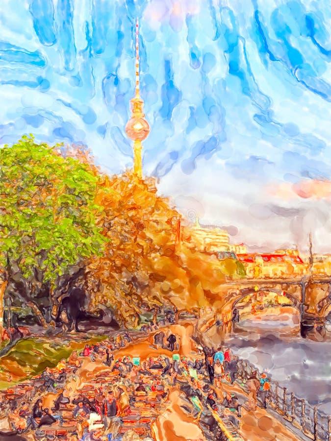 Beira-rio de Berlim do parque de Monbijou no rio da série Na torre da tevê do fundo foto de stock royalty free