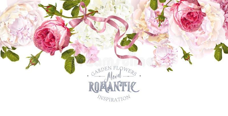 Beira romântica do jardim ilustração royalty free