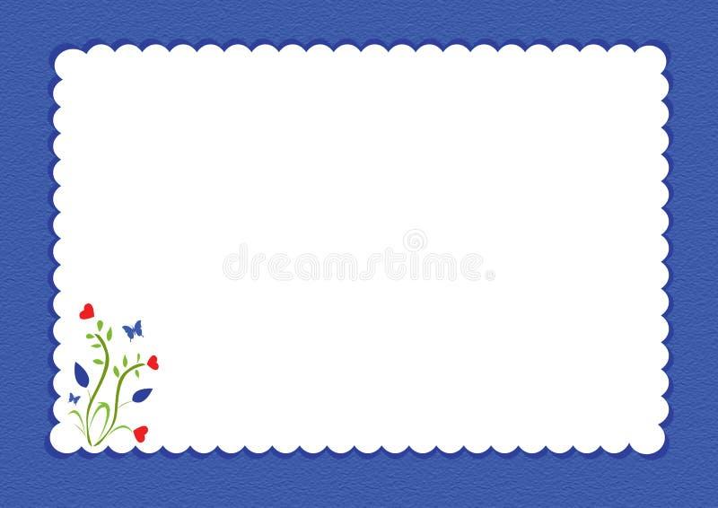 Beira scalloped azul com design floral ilustração do vetor