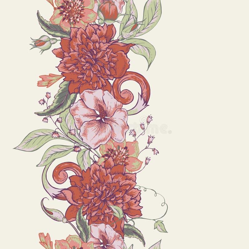 Beira sem emenda botânica do vintage com florescência ilustração royalty free