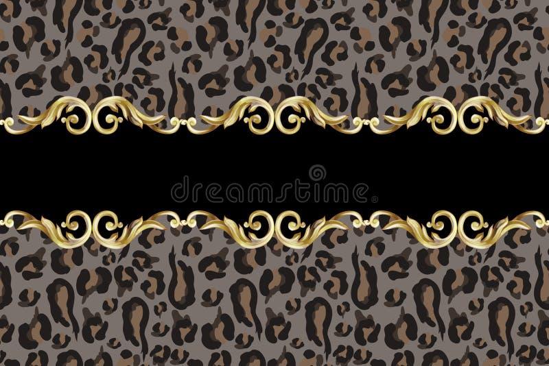 Beira sem emenda com pele do leopardo e elementos barrocos dourados Vetor ilustração royalty free